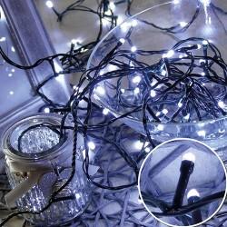 Karácsonyi Led fényfüzér 300db hideg fehér rizsszem leddel 31,9m vez.: 8fukciós