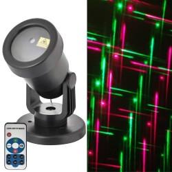 Karácsonyi lézer projektor vonalak, IP44, piros, zöld, programozható, időzíthető, távirányítós, alkonykapcsolós!