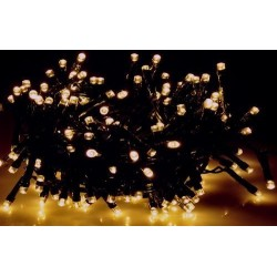 Karácsonyi Led fényfüzér 300db meleg fehér rizsszem leddel 31,9m vez: 8funkciós