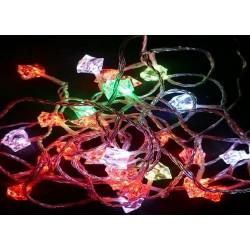 Karácsonyi Led fényfüzér 80db Gyémánt forma RGB leddel 9,9m!
