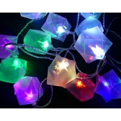 Karácsonyi Led fényfüzér 30db AJÁNDÉKDOBOZ 3D-S CSILLAGGAL RGB leddel 6,35m!