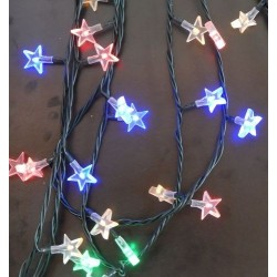 Karácsonyi Led füzér csillag alak 50db leddel multi color
