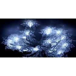 Karácsonyi Led fényfüzér Hópihe 80db hideg fehér leddel folyamatosan világít!