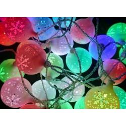 Karácsonyi Led fényfüzér Hólabda 40db RGB leddel folyamatosan színeket váltva világít!