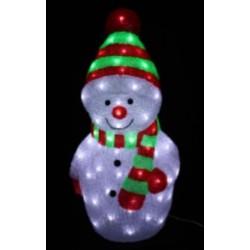 Karácsonyi Hóember figura 27*29*58cm 96db hideg fehér leddel