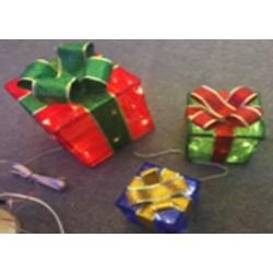 Karácsonyi 3db Ajándék doboz doboz figura 15-20-25cm 60db meleg fehér leddel
